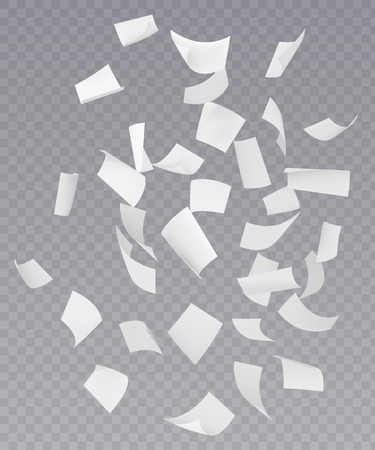 Chaotic falling flying empty white paper sheets with curved corners on transparent background realistic vector illustration