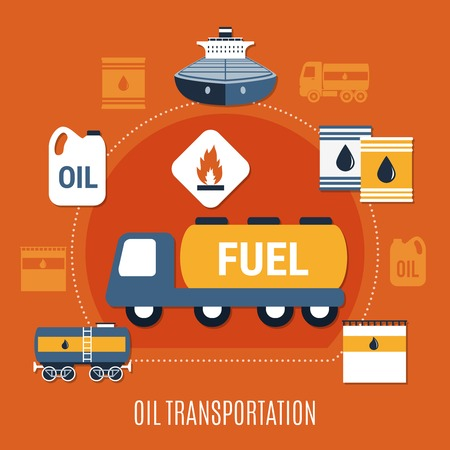 Fuel pump colored composition with oil transportation headline and transport in flat style vector illustration