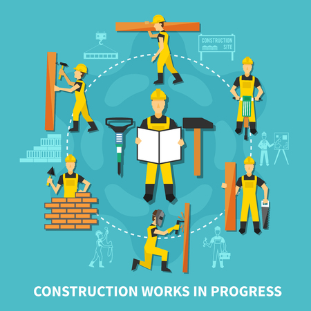 Construction worker concept with construction works in progress description in flat style vector illustration