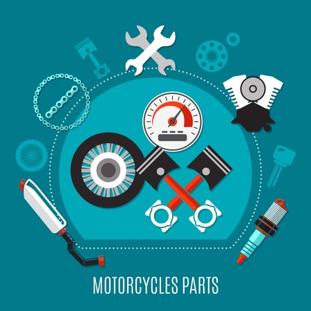 Motorcycles parts design concept with speedometer tire pistons exhaust muffler spark plug engine decorative icons flat vector illustration  Çizim