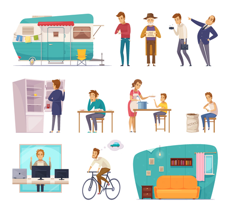 Social classes decorative icons set with rich  poor needy pauper people in home interior and outdoor isolated vector illustration  Illustration