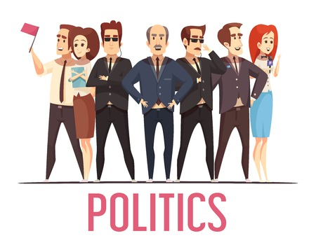 Political election campaign leading candidates public appearance with bodyguards and spouses cartoon characters composition poster vector illustration  Stock Illustratie