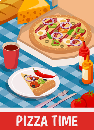 Pizza time isometric poster with slice of product on plate with cutlery, drink and sauces vector illustration