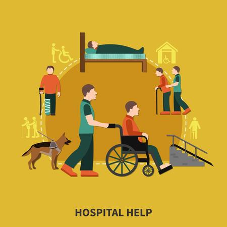 病院ヘルプヘッドラインと障害者のためのアシスタントを持つ障害者フラット組成物ベクトルイラスト