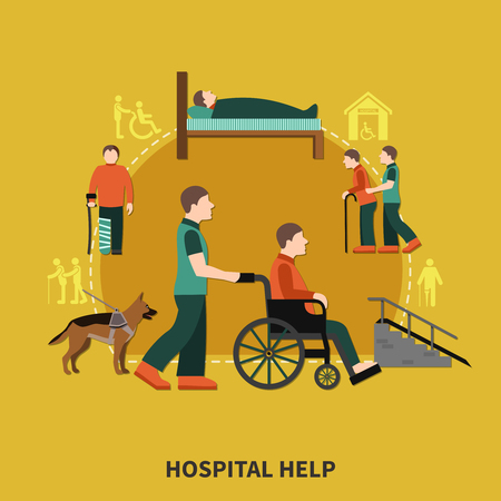 Disabled person flat composition with hospital help headline and assistants for people with disabilities vector illustration Illustration