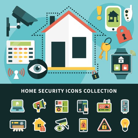 Home security icons collection with surveillance system, climate control, mobile apps smart house isolated vector illustration