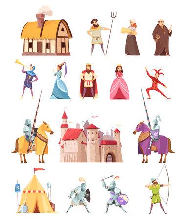 Die Karikaturikonen der historischen Gebäude der mittelalterlichen Charaktere, die mit Schlossräuberzeltbauernkönig-Ritterprinzessin eingestellt wurden, lokalisierten Vektorillustration