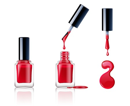 Realistic container brush and drops of nail polish set isolated on white background vector illustration Vettoriali