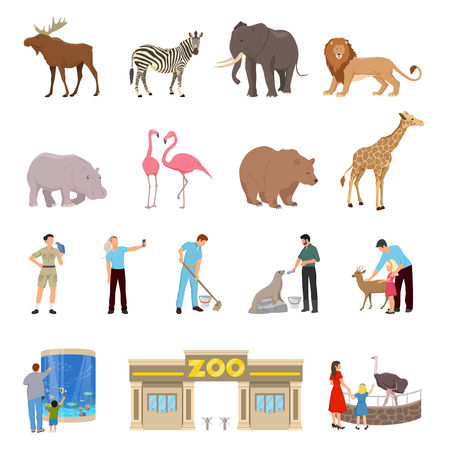 Zoo flat icons set of lion elephant giraffe deer zebra hippopotamus walrus flamingos goat ostrich isolated vector illustration