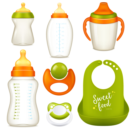 Realistic baby bottle milk set of isolated sucking bottles for milk and water with dummies vector illustration