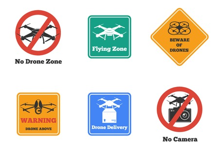 Set of prohibited and warning drone signs of various shape and color isolated vector illustration