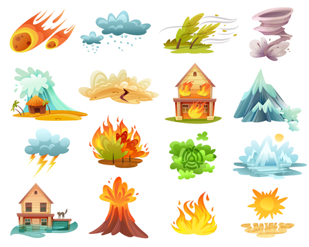 Natural disasters cartoon set of  icons with fires, tsunami, flood, volcano eruption, ice melting isolated vector illustration Vettoriali