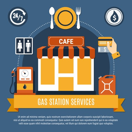 Fuel pump flat flyer with gas station services headline on yellow ribbon vector illustration