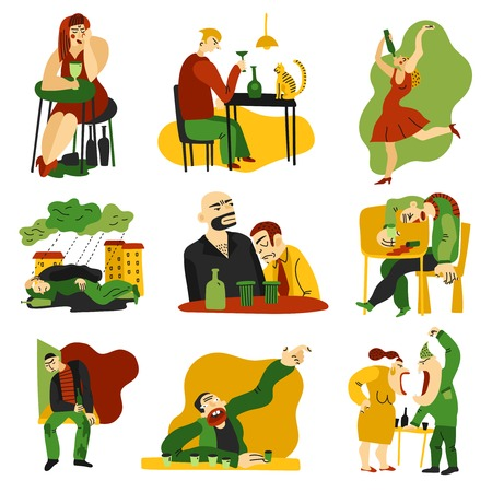 Alcohol addiction symptoms signs and abuse 9 flat compositions icons collection with drinking people isolated vector illustration  Ilustração
