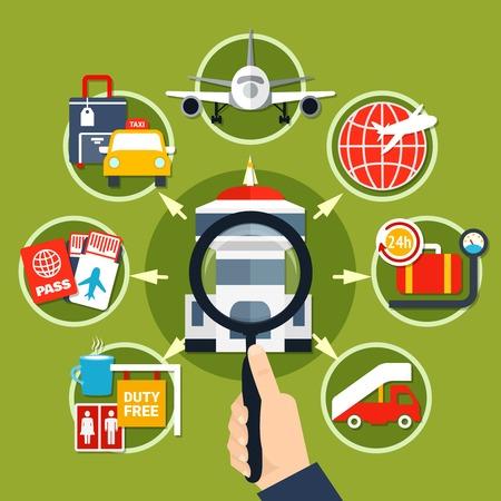 Aeropuerto símbolos de servicios para pasajeros iconos planos círculo composición cartel con instalaciones de transporte equipaje almacenamiento fondo vector ilustración