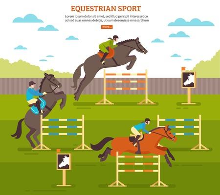 Equestrian sport horse illustration with pleasure ground scenery horsemen and barriers with text and more button vector illustration
