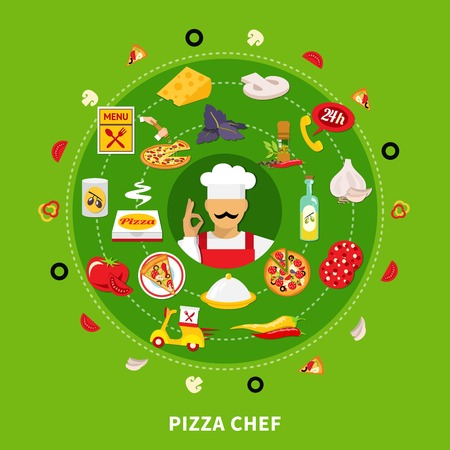 Pizza round composition of isolated emoji style icons with pizza filler slices and small delivery pictograms vector illustration