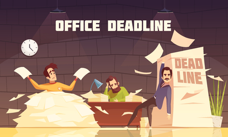 Office piles of paperwork target dates deadlines and tasks time limits problems cartoon illustration poster vector illustration Illustration