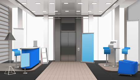 Realistic lobby interior, lift zone, in grey color with blue elements including reception desk, armchair vector illustration