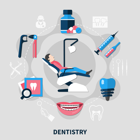 Dentistry design concept with patient in medical armchair and tools for dental care flat vector illustration
