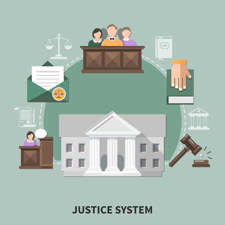 Law composition with set of flat justice system related images court hearing participants human characters and icons vector illustration Иллюстрация