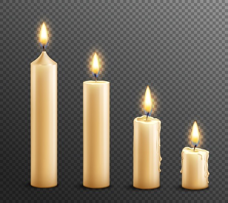 Burning wax candles realistic set of arranged from tall to law on dark transparent background vector illustration