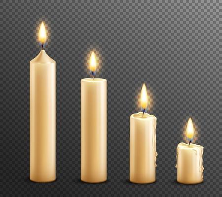 Realistyczny zestaw płonących świec woskowych ułożonych od wysokich do prawa na ciemnym przezroczystym tle ilustracji wektorowych Ilustracje wektorowe