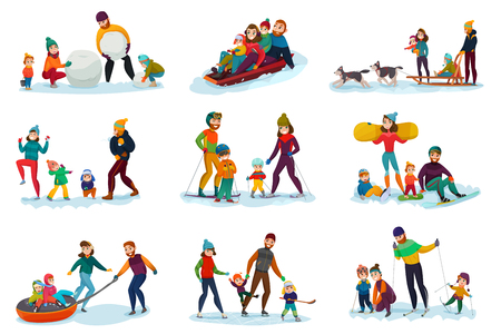 Winter recreation family set with snowballs ski and sleddogs symbols flat isolated vector illustration