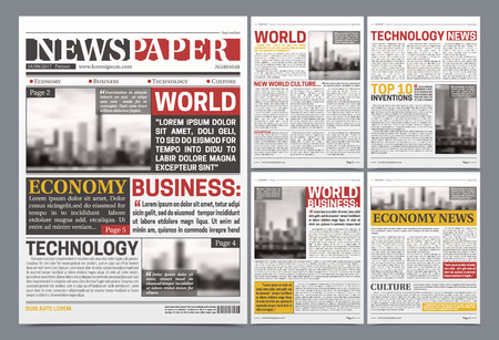 Newspaper pages template design with world breaking news economy technology and business headlines realistic vector illustration Çizim