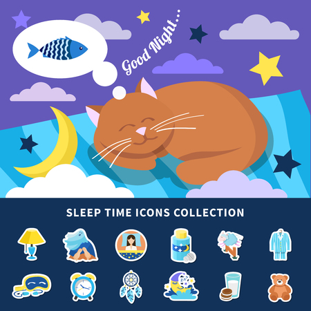 Sleeping time flat icons collection with night dreaming red cat banner bedroom decorations stickers isolated vector illustration  Çizim