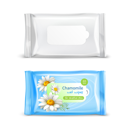 Chamomile wet wipes napkins for sensitive skin realistic  package 2 views set isolated vector illustration  Çizim