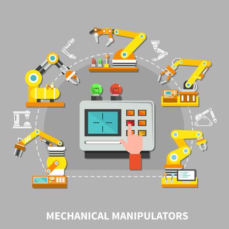 異なるニーズベクトルイラストのための工場で黄色の技術デバイスを持つロボットアーム構成