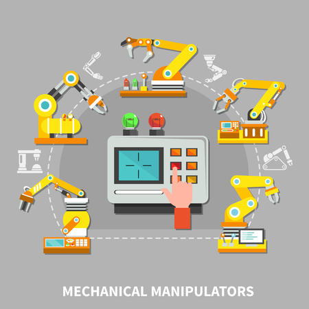 Robotic arm composition with yellow technical devices at the factory for different needs vector illustration