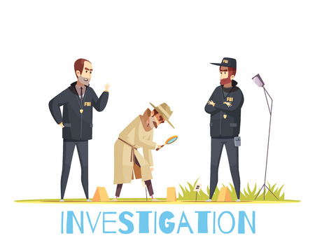 Detective composition with doodle style human characters of policemen in uniform and private detective with magnifying lens vector illustration Çizim