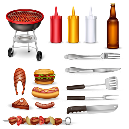 Barbecue decorative icons set with grilled meat kitchen utensil ketchup collection and beer bottle isolated vector illustration Illustration