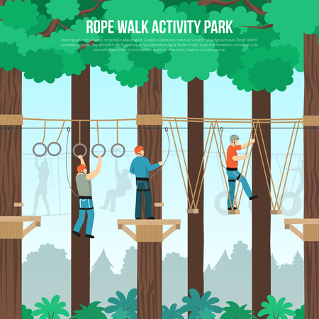 Rope walking outdoor adventure park activities with tightrope and zip line component flat poster vector illustration