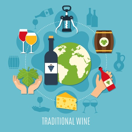 Flat design concept with various wine icons bottle cheese cask corkscrew on blue background vector illustration