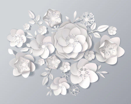 Set of realistic white paper flowers of various kinds with leaves on grey background 3d vector illustration