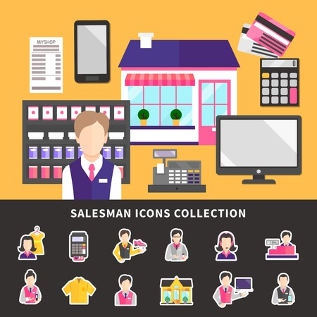 Salesman background with store attendant and cashier characters with collection of product icons and payment terminal vector illustration.