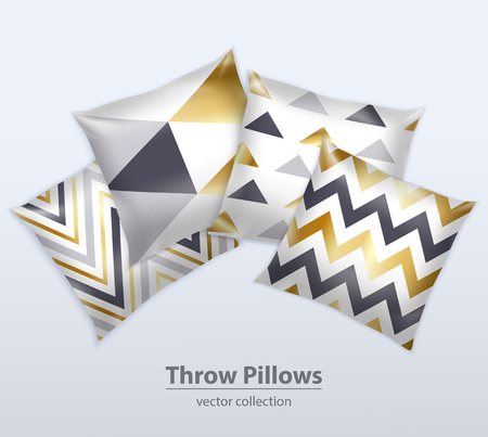 Decorative interior cushions throw pillows satin covers design patterns realistic composition grey background advertisement poster vector illustration