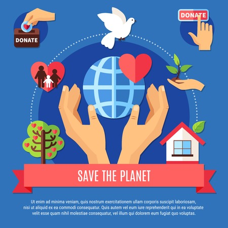 Charity background concept with human hands, globe symbol and different charitable giving pictograms with editable text.