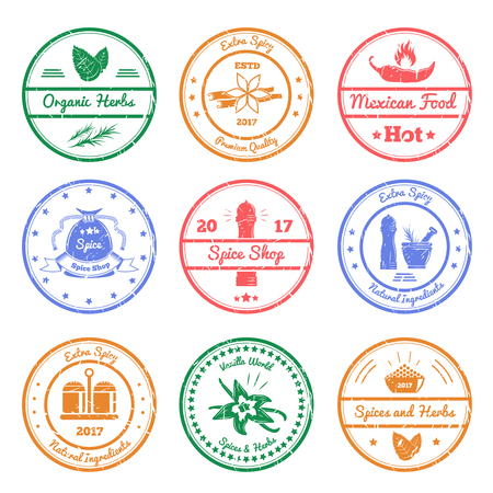 Spices and herbs set of round stamps with leaves, vanilla flowers, chili pepper, mills isolated vector illustration