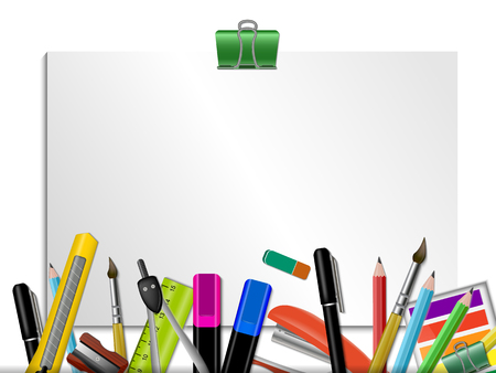 Stationery Colored Background with set of writing utensils on white notepad background vector illustration