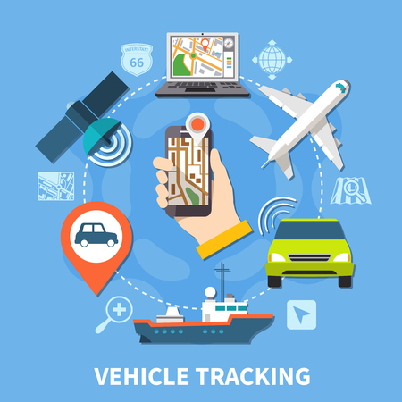 Navigation round composition of isolated silhouette pictograms and colourful icons of vehicles maps and tracking facilities vector illustration