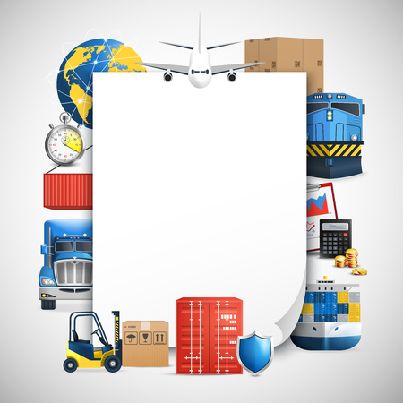 Logistic colored composition with frame consisting of a vehicle and means of delivery vector illustration Illustration