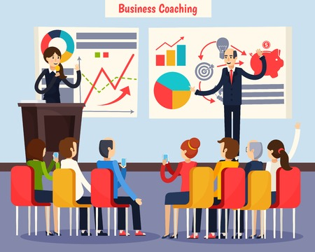 Business coaching orthogonal composition staff training with speakers and audience, charts on whiteboards flat vector illustration