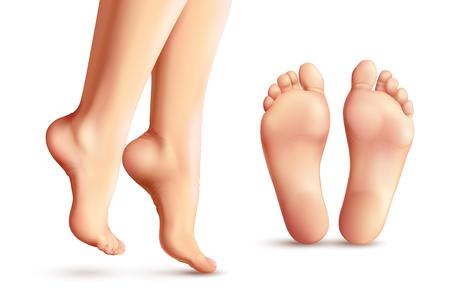 Realistische vrouwelijke voeten die met benen worden geplaatst die zich op die tenen en zolen bevinden op witte vectorillustratie worden geïsoleerd als achtergrond