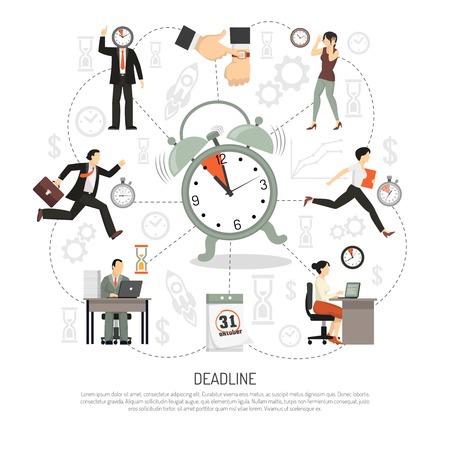 Deadlinesamenstelling van de pictogrammen van de vlakke pictogrammenproductiviteit en vlakke beelden van alarmkalender en mensenkarakters vectorillustratie