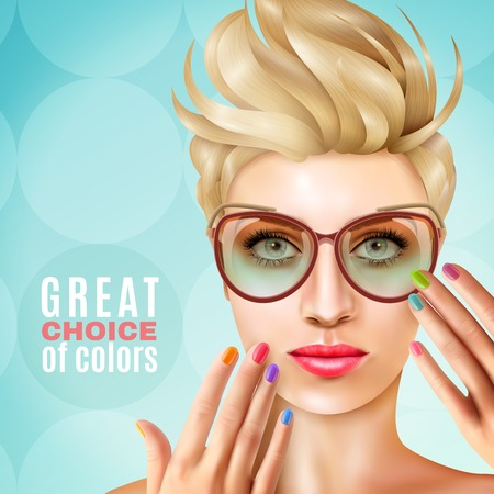 Model face nail polish background with human character of female model with shape and polish manicure vector illustration Illustration