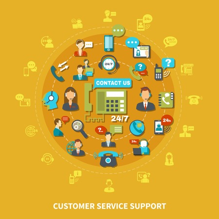 Customer service support round composition on yellow background with operators during communication, speech bubbles vector illustration Vettoriali